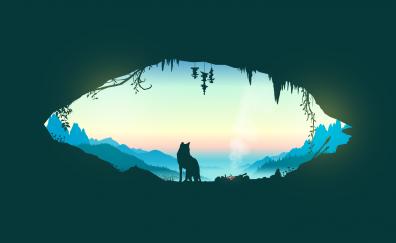 Wolf, minimal, artwork
