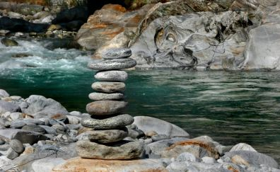 River, rocks tower, rocks