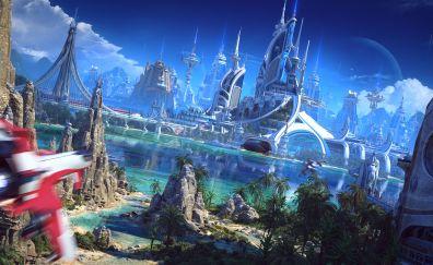 Futuristic city artwork