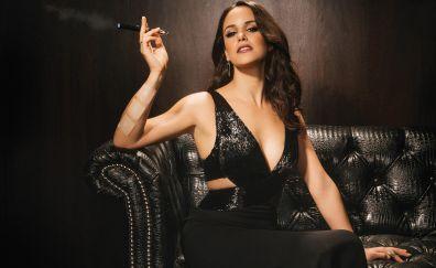 Melissa Fumero, smoking, sofa, celebrity
