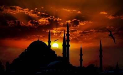 Mosque, architecture, sunset, clouds