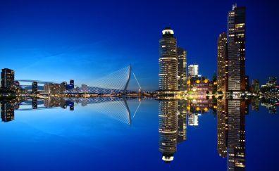 Rotterdam city of Netherlands in night