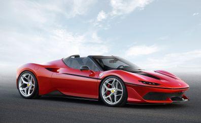 Red Ferrari J50, sports, side view, car