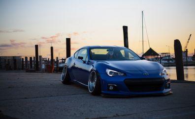Subaru side view blue sports car tuning