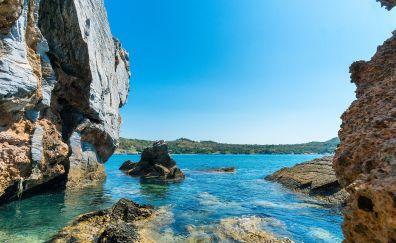 Tropical beach, rocks, sea