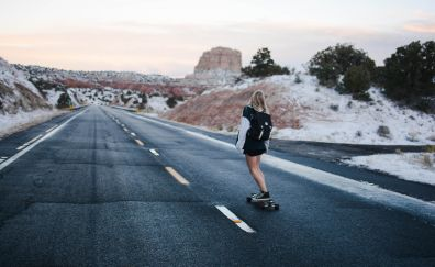 Girl on road