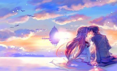 Anime couple, Kiss, Yuuki Asuna, Kirigaya Kazuto, Sword Art Online