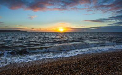 Unset ocean, keyhaven coast, sunset, nature
