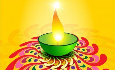 Diwali Rangoli and clay lamp