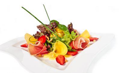 Mix lettuce, strawberries, corn, gravy, food