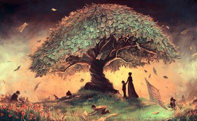 Tree of paper artwork
