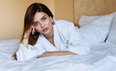 Girl, brunette, model, lying, bedroom