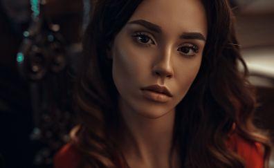 Ana Spivey, brunette, girl model, face