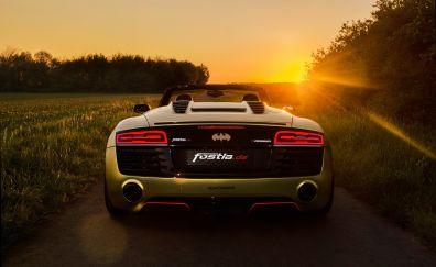 Audi R8, sports car, rear view, sunset, landscape