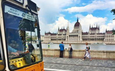 Budapest city, bus, city street
