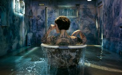 Blindspot tv show, Jaimie Alexander, bathtub, tattoo