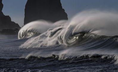 Beach, pacific coastline, sea waves