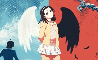 Nadeko Sengoku, Bakemonogatari, happy anime girl, wings
