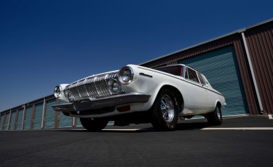 Dodge 330, white muscle car, front view