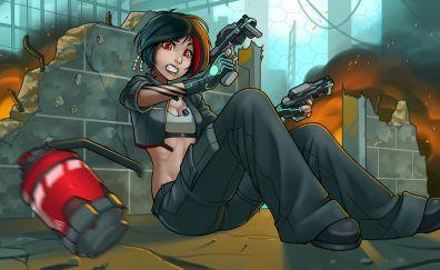 Girl, weapons, gun, cartoon