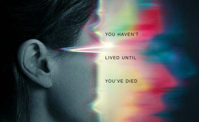 Flatliners, 2017 movie, face, glitch art