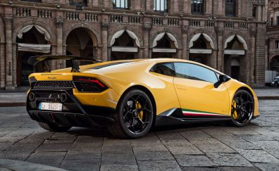 2018 Lamborghini Huracan Performante, yellow car, rear view
