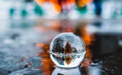 Christmas tree, crystal ball, reflections