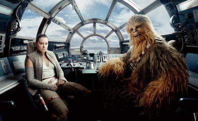 Rey, chewbacca, star wars: the last jedi, movie