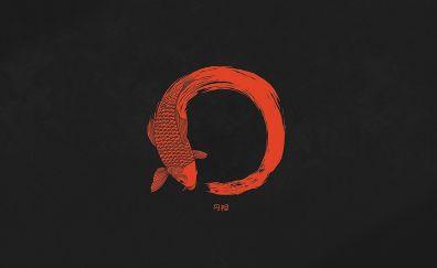 Minimal, Red fish, circle