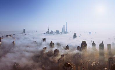 Skyscrapers of shanghai city aerial view