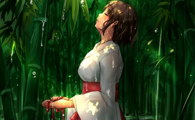 Mitsuha miyamizu in rain anime wallpaper