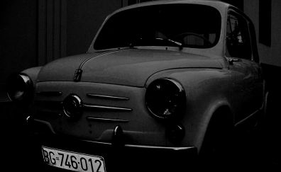 Old car, vintage car, monochrome