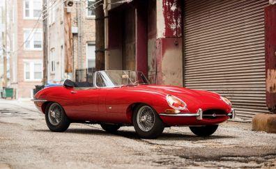 Jaguar E-type red sports car