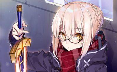 Mysterious Heroine X, Fate/Grand Order, glasses, sword, anime girl