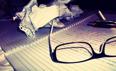 Paper, glasses and notebook wallpaper