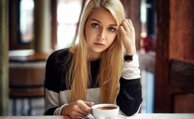 Blonde, girl, tea