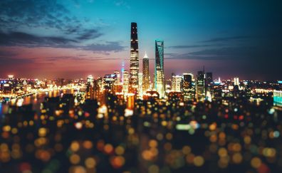 Shanghai, city, night lights, bokeh
