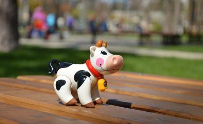 Cow, figure, toy, happy