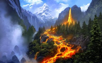 Lava flow of volcanic mountains