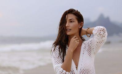 Brunette, model, Lily Aldridge @ beach