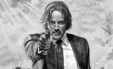 John Wick: Chapter 2 movie, art, monochrome