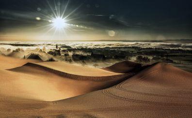 Sunlight, desert, city, nature, horizon