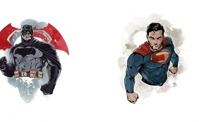 Batman, super man, art, dc comics