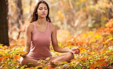 Yoga, meditation, girl model, fall