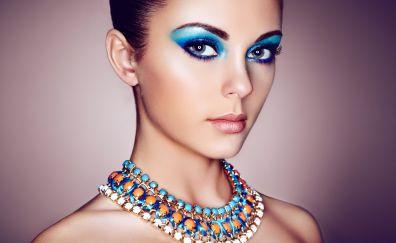 Girl model, makeup, necklace