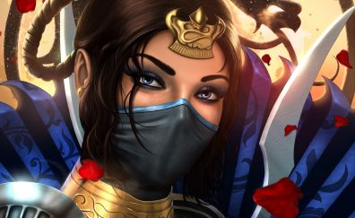 Kitana, mortal kombat, video game, girl warrior, face