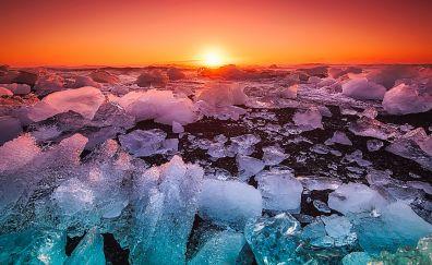 Iceland, sea, ocean, sunset, yellow skyline