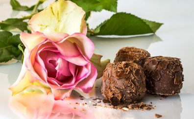 Chocolates, rose flowers, sweets