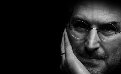 Steve Jobs, glasses, celebrity, face, monochrome
