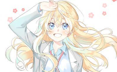 Cute smile of Kaori Miyazono, anime